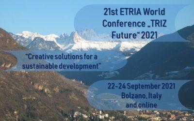 """Conferenza Internazionale ETRIA """"TRIZ Future"""" 2021 """"Soluzioni creative per uno sviluppo sostenibile"""""""